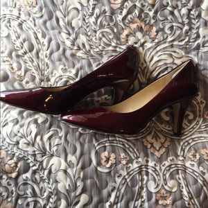 Wine colored patent Alex Marie heels